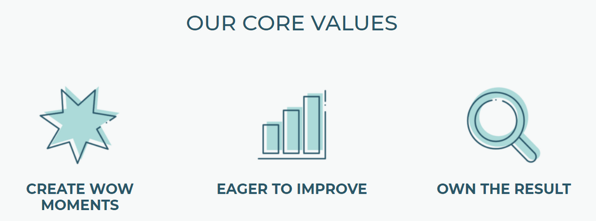 core values with icons for create wow moment, eager to improve, and own the result
