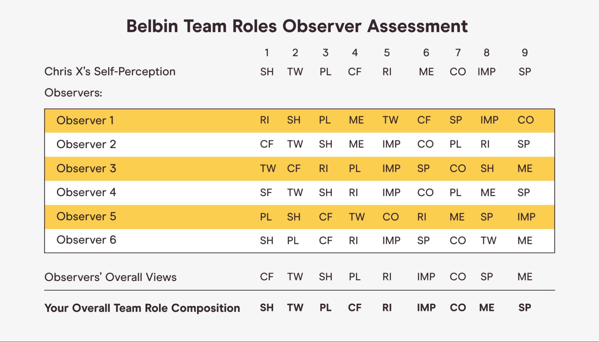 Belbin colleague feedback