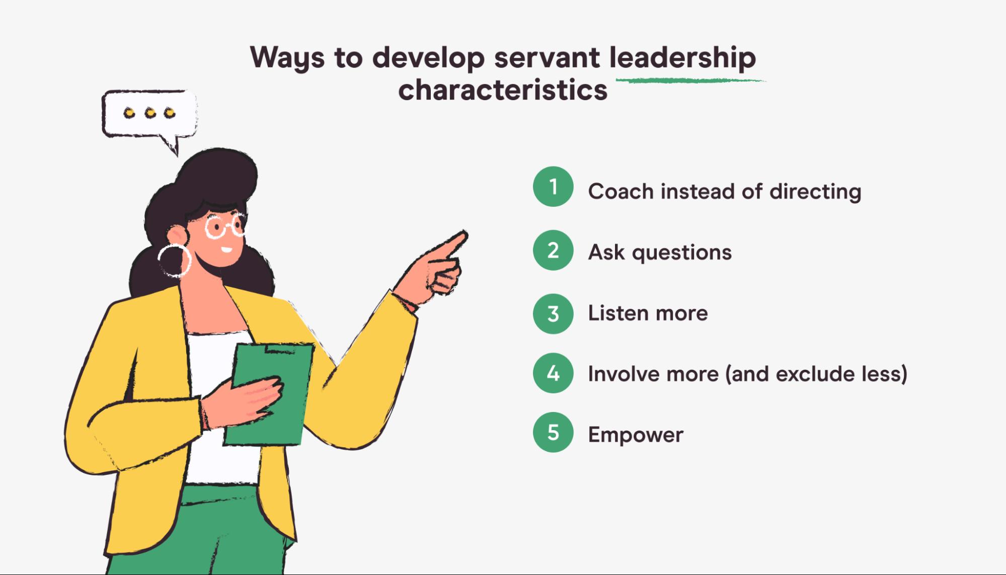 ways to develop servant leadership characteristics