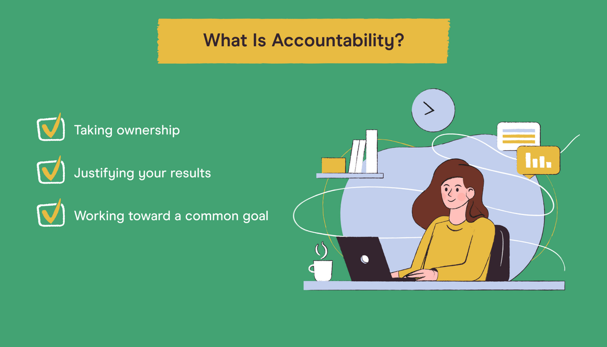 what is accountability checklist including taking ownership, justifying results, and working toward common goal